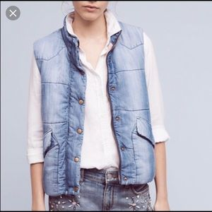"""""""Anthropologie"""" Chambray Puffer Vest"""